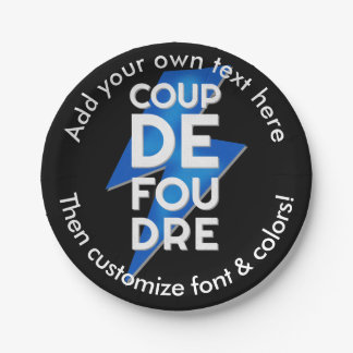 Lightning Strike - Coup de Foudre French Saying 7 Inch Paper Plate