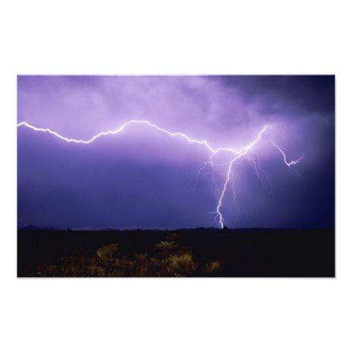 Lightning strike over desert, Big Bend Art Photo