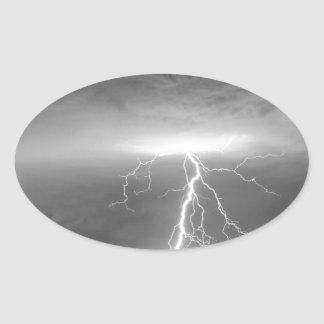Lightning Strikes Following the Rain BWSC Oval Sticker