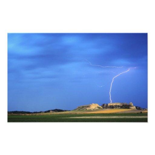 Lightning strikes the Wildcat Hills near Art Photo