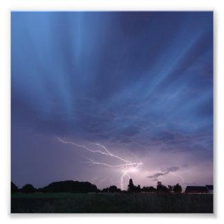 Lightning Striking During Thunderstorm Photo Print