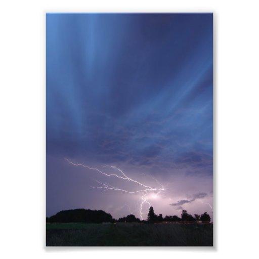 Lightning Striking During Thunderstorm Photo