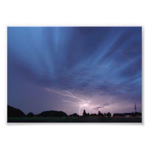 Lightning Striking During Thunderstorm Photographic Print