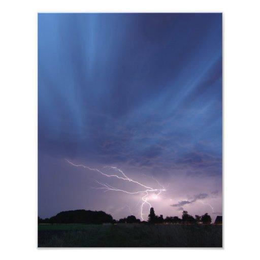 Lightning Striking During Thunderstorm Art Photo