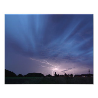 Lightning Striking During Thunderstorm Photographic Print
