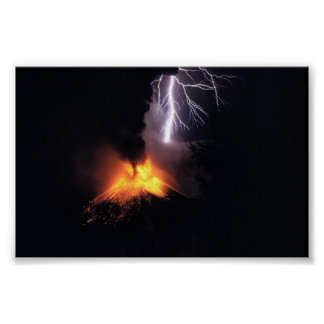 Lightning Strke over Volcano Indonesia Poster