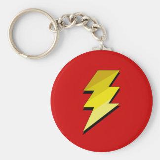 Lightning Thunder Bolt Basic Round Button Keychain