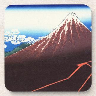 Lightnings below the summit Katsushika Hokusai Drink Coaster