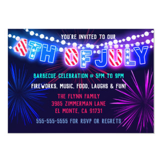 Lights and Fireworks 4th of July Party Invitations