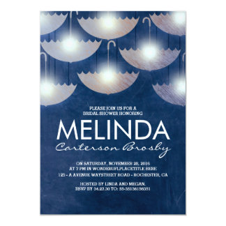 Lights and Umbrellas Navy Blue Bridal Shower Card