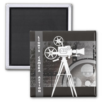 "Lights, Camera, Action 2""x2"" Square Magnet"