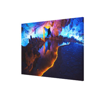 Lights in Reed Flute Cave, China Canvas Print
