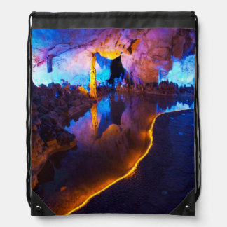 Lights in Reed Flute Cave, China Drawstring Bag