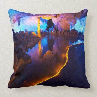 Lights in Reed Flute Cave, China Throw Pillow