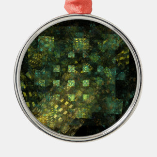 Lights in the City Abstract Art Round Metal Ornament
