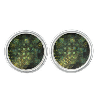 Lights in the City Abstract Art Silver Plated Cufflinks