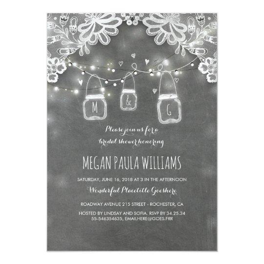 Lights Mason Jars Lace Rustic Bridal Shower Card