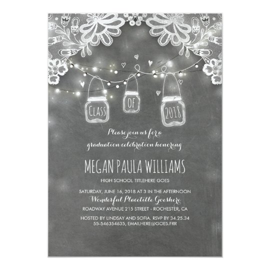 Lights Mason Jars Lace Rustic Graduation Party Card