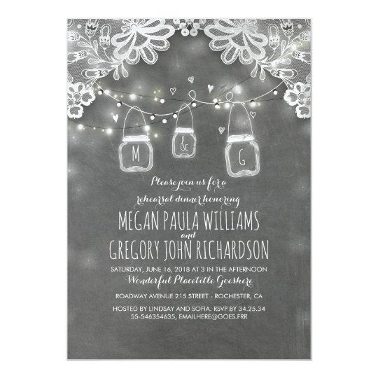 Lights Mason Jars Lace Rustic Rehearsal Dinner Card