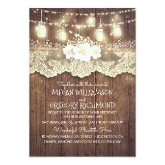 "Lights Mason Jars Lace Wood Rustic Barn Wedding 5"" X 7"" Invitation Card"