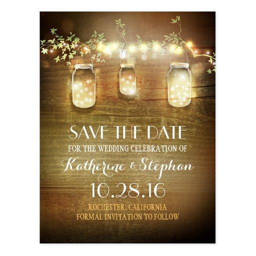 lights mason jars rustic save the date postcard zazzle