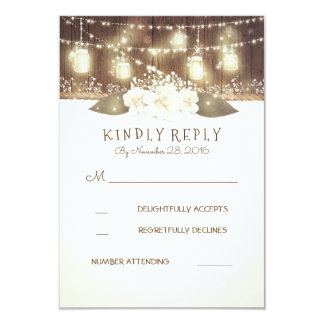 Lights Mason Jars Rustic Wood Barn Wedding RSVP Card