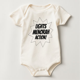 Lights Menorah Action - Black Baby Bodysuit