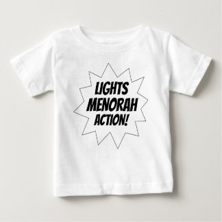 Lights Menorah Action - Black Baby T-Shirt