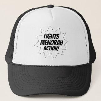 Lights Menorah Action - Black Trucker Hat