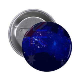 Lights of Australia from Space and Flag. 2 Inch Round Button