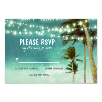 "lights & palm trees beach teal wedding RSVP cards 3.5"" X 5"" Invitation Card"