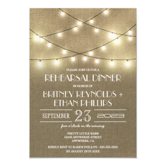 Lights+ Rustic Burlap Rehearsal Dinner Invitations