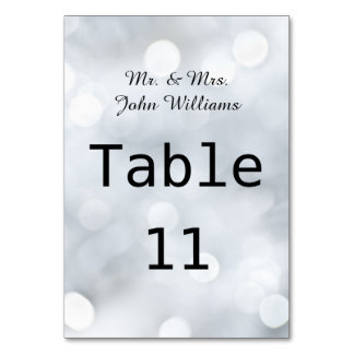 Lights White Snow Sparkle Reception Table Card