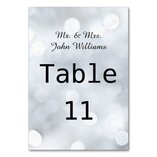Lights White Snow Sparkle Reception Table Card
