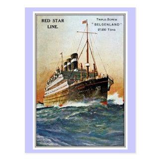 Ligne rouge vintage Belgenland d'étoile Carte Postale