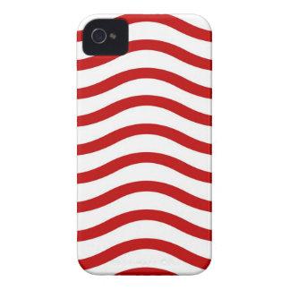 Lignes onduleuses rouges et blanches cadeaux coque iPhone 4 Case-Mate