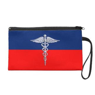 Ligue médicale de symbole de caducée argenté de dragonne