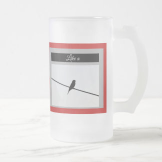 Like a Bird on A Wire - Leonard Cohen Frosted Glass Beer Mug