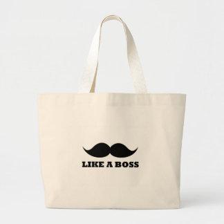 LIKE A BOSS, moustache design Jumbo Tote Bag