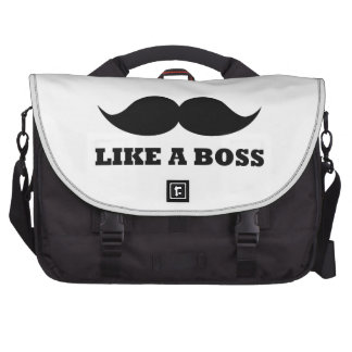 LIKE A BOSS, moustache design Laptop Bags