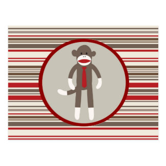 Like a Boss Sock Monkey with Tie on Red Stripes Postcard