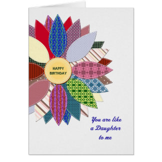 Like a daughter to me, stiched flower birthday card