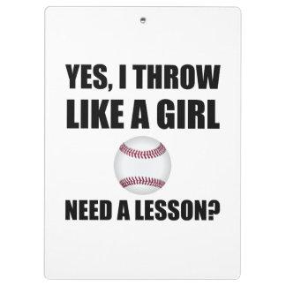 Like A Girl Baseball Clipboard