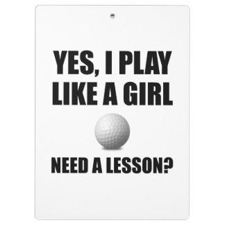 Like A Girl Golf Clipboards