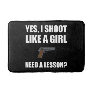 Like A Girl Gun Shoot Bath Mat