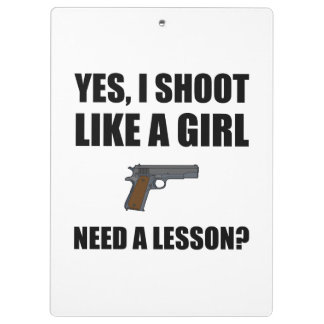 Like A Girl Gun Shoot Clipboard