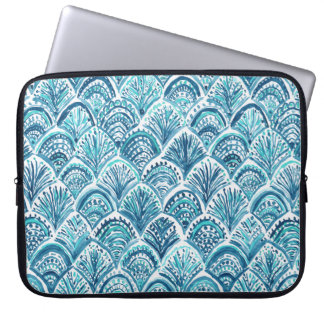 LIKE A MERMAID Nautical Fish Scales Pattern Laptop Sleeve