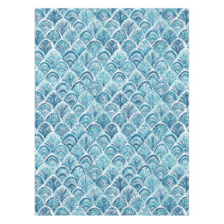 LIKE A MERMAID Nautical Fish Scales Pattern Tablecloth