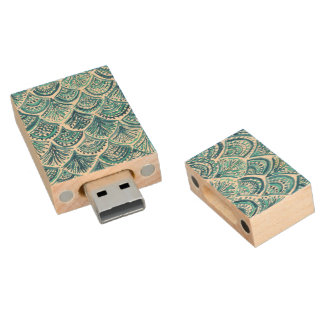 LIKE A MERMAID Nautical Fish Scales Pattern Wood USB 2.0 Flash Drive