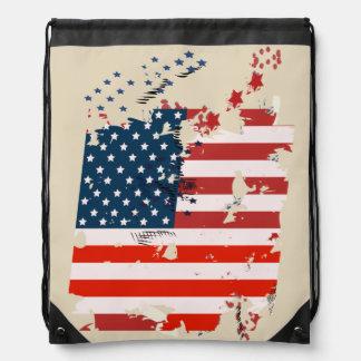 Like an American. USA grunge flag Drawstring Bag
